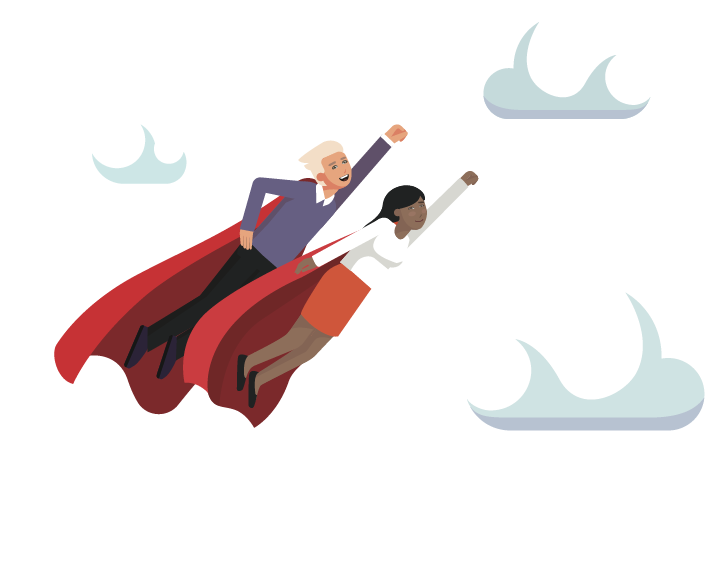 Two people with capes flying through clouds